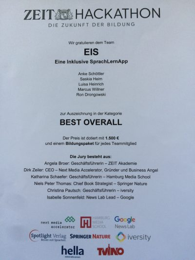 """Urkunde des ZEIT Hackathon """"Die Zukunft der Bildung"""", Auszeichung in der Kategorie BEST OVERALL fuer EiS - Eine inklusive SprachlernApp."""